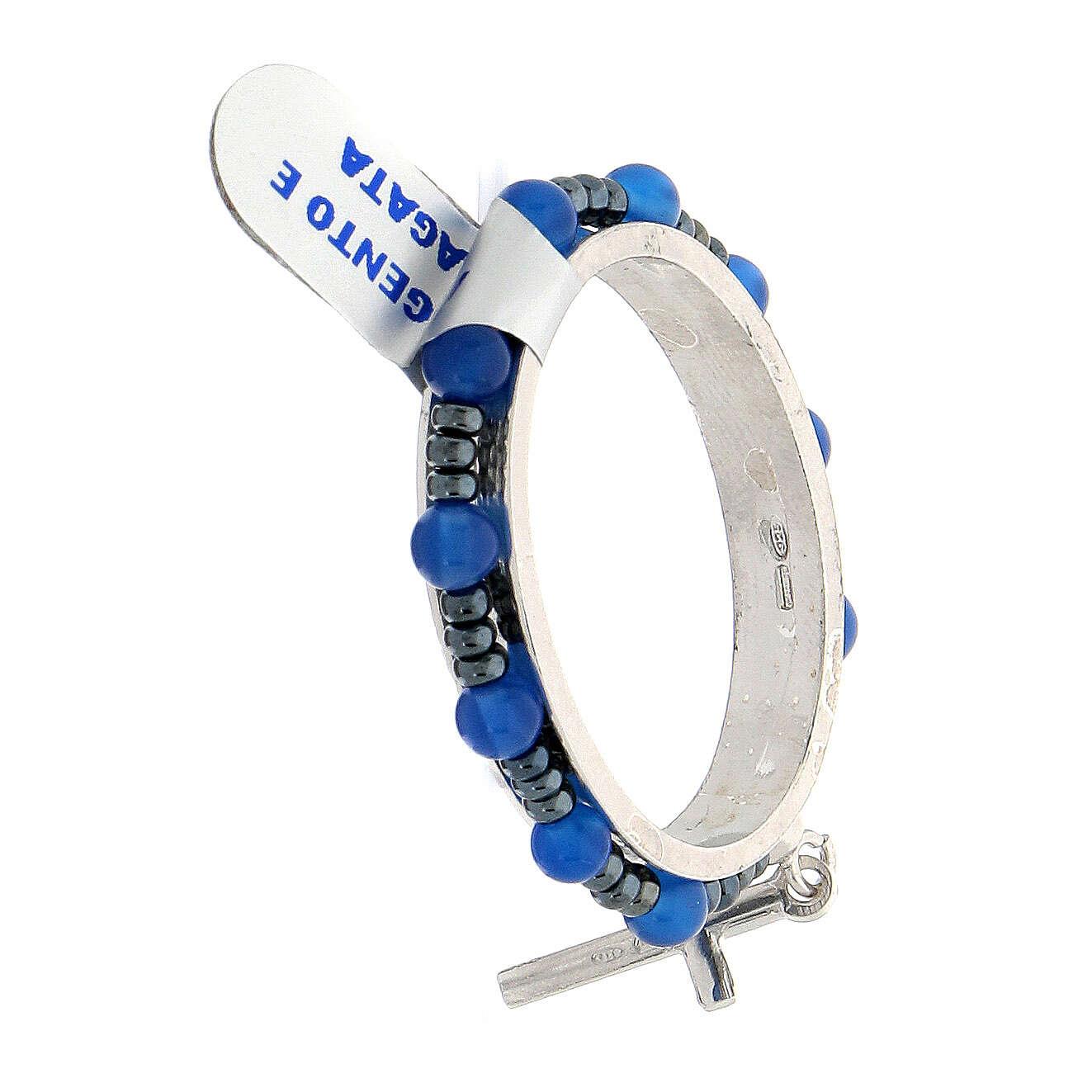 Dezena terço giratória prata 925 contas ágata azul 4 mm 4