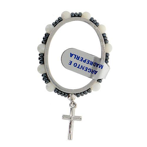 Ring aus 925er Silber mit Gebet und kleinen Perlen aus Perlmutt, 4 mm