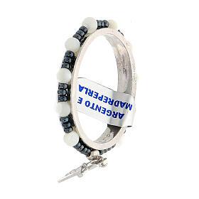 Preghierino argento 925 decina madreperla 4 mm croce pendente s3