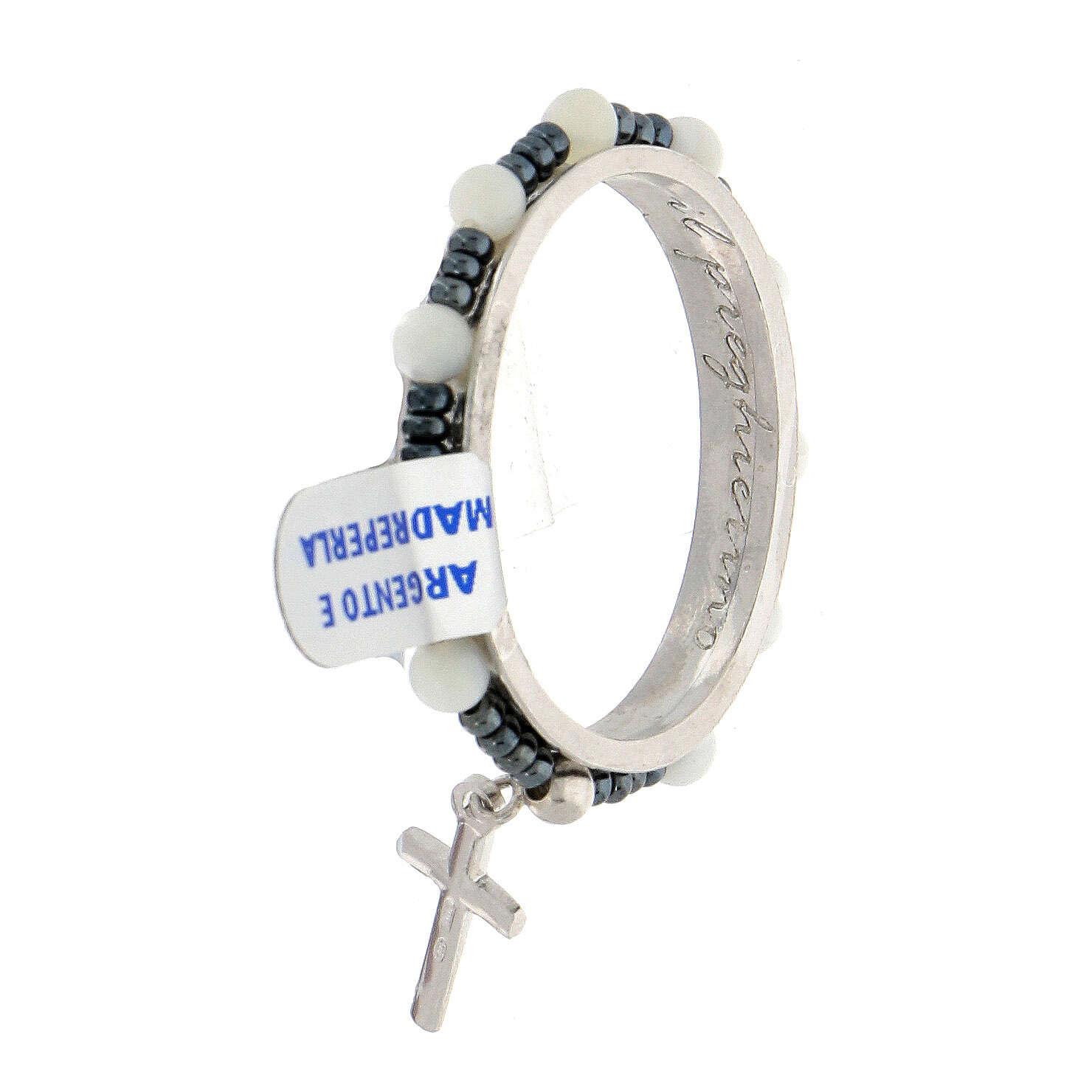 Dezena terço giratória prata 925 contas madrepérola 4 mm e crucifixo 4