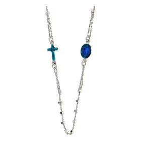 Terço prata 925 Medalha Milagrosa e cruz esmaltadas azuis contas 2 mm