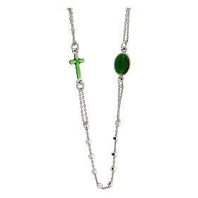 Terço prata 925 Medalha Milagrosa e cruz esmaltadas verdes contas 2 mm