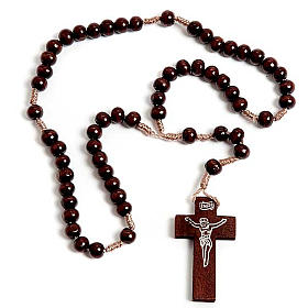 Dark wood Franciscan rosary s1