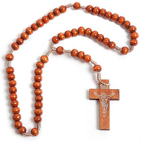 Rosario franciscano madera clara 1
