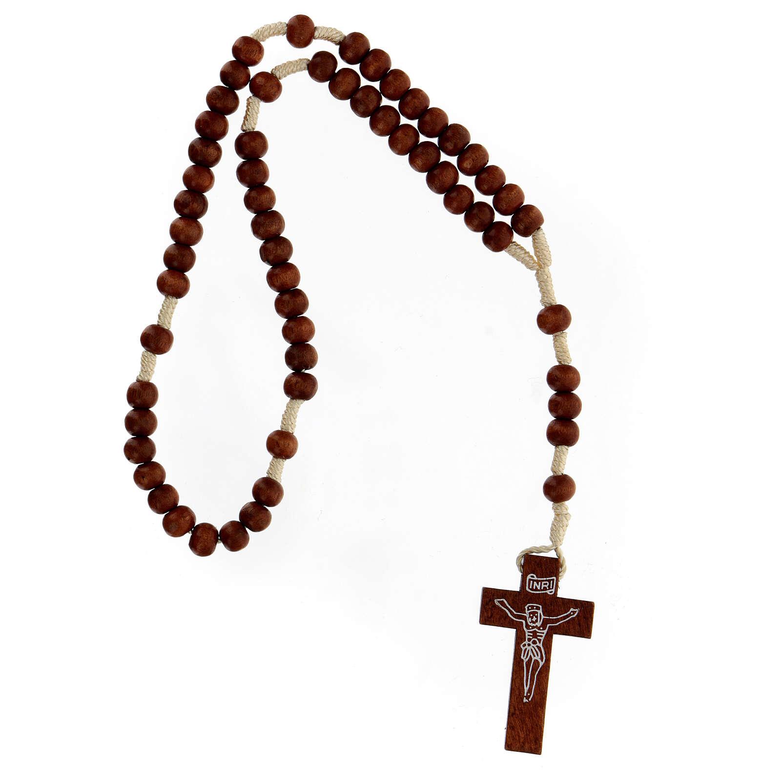Bright wood Franciscan rosary 4