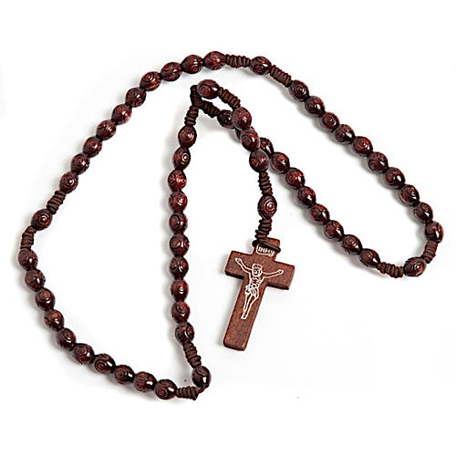 Stretchable Franciscan rosary, oval dark beads 1