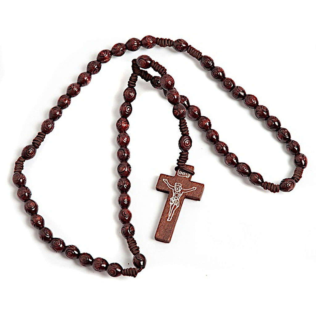 Stretchable Franciscan rosary, oval dark beads 4