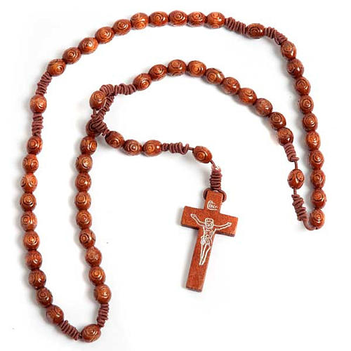 Stretchable Franciscan rosary, light wood 1