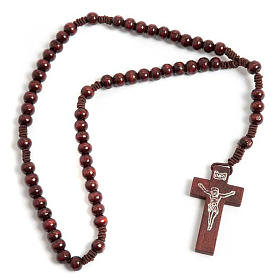 Stretchable Franciscan rosary, bright wood s1