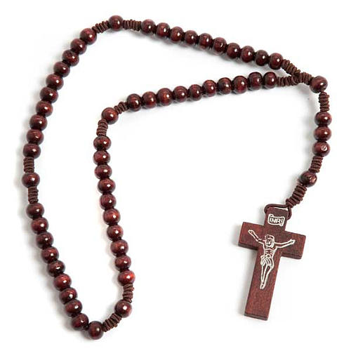 Stretchable Franciscan rosary, bright wood 1