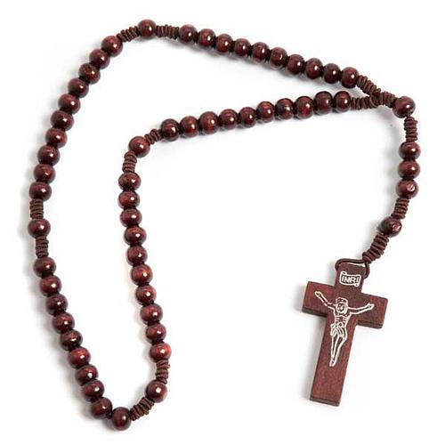 Terço franciscano elástico redondo escuro 1