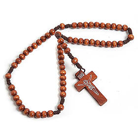 Stretchable Franciscan rosary, dark wood s1