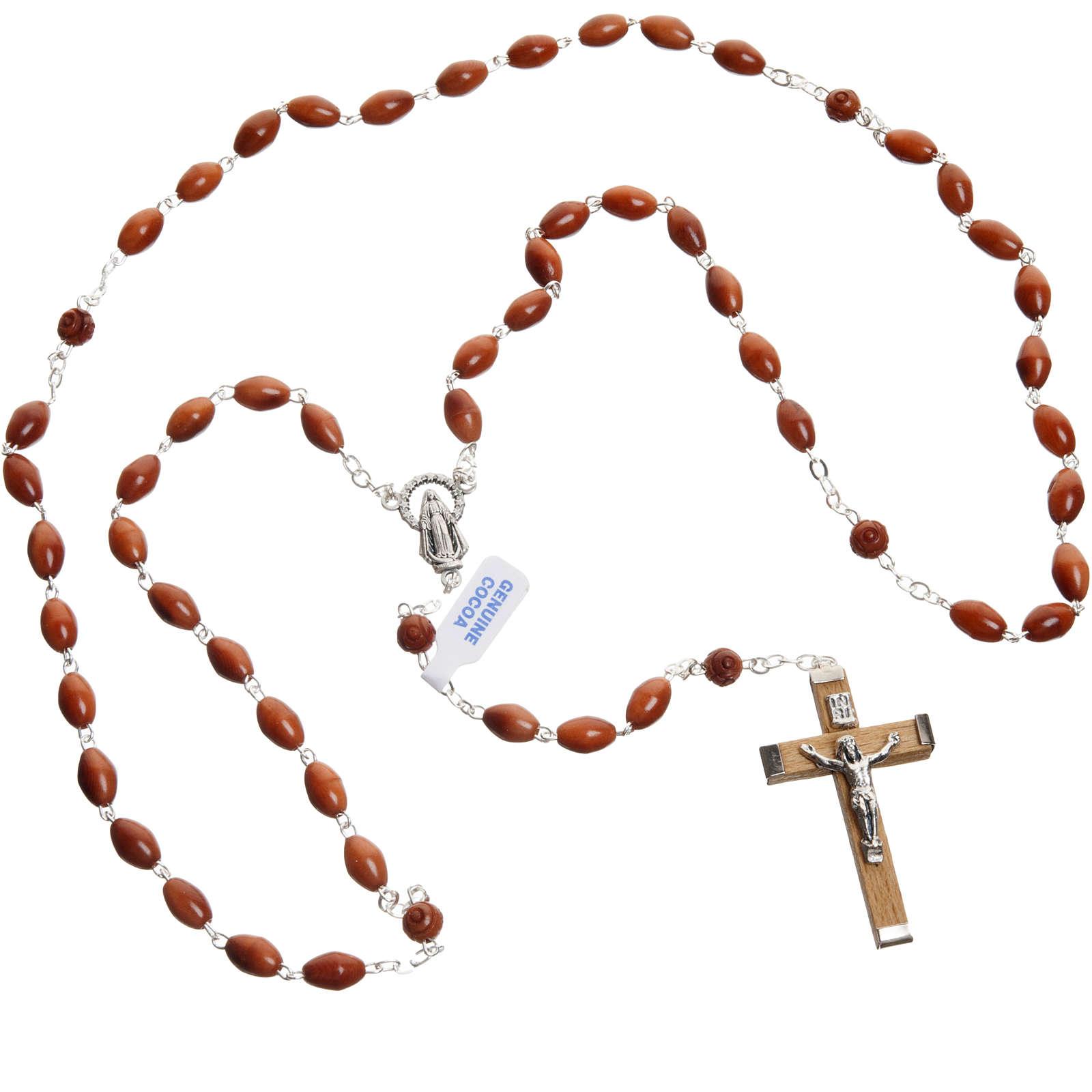 Oval bead coconut rosary 4