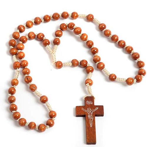 Bright wood Franciscan rosary- top 1
