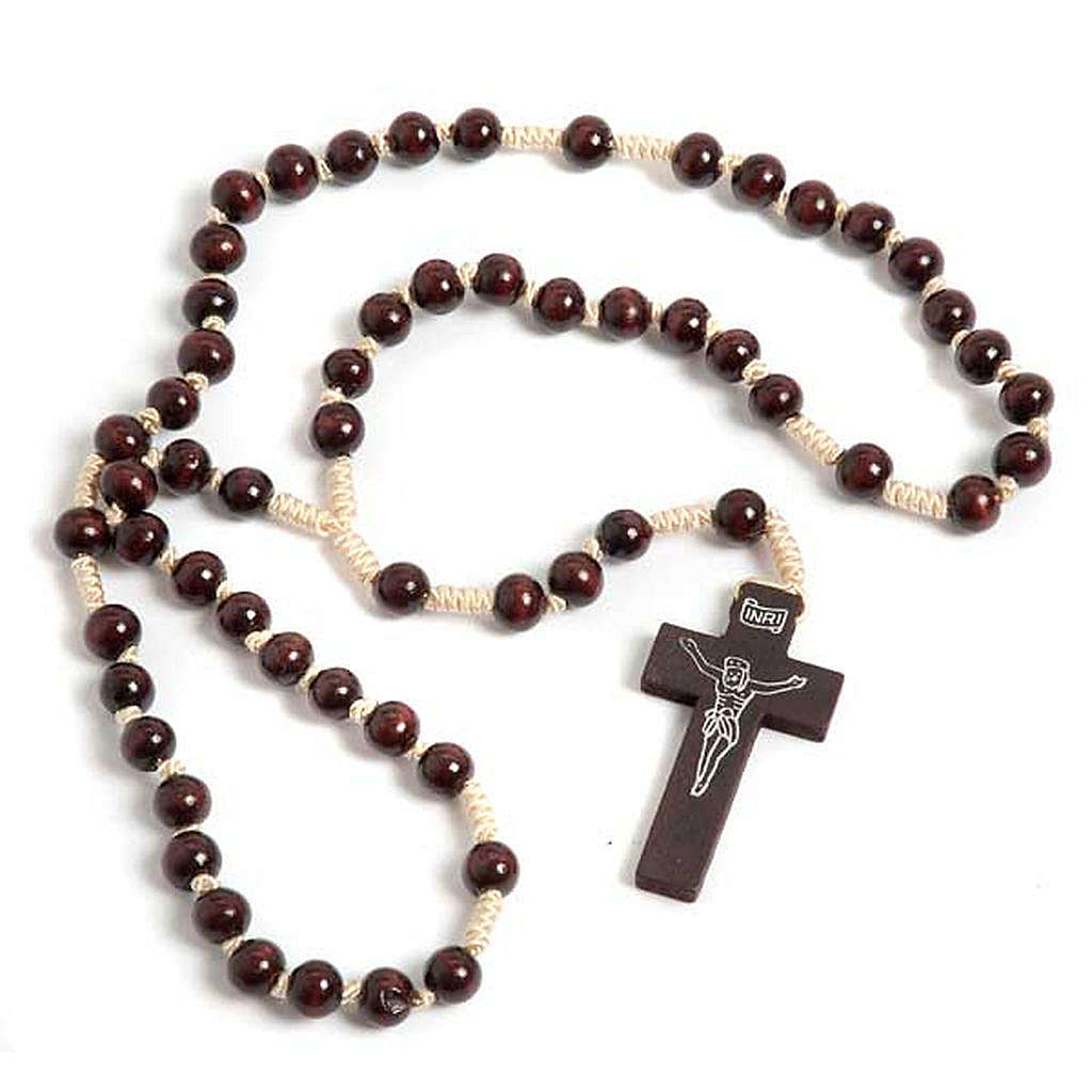 Dark wood knotted Franciscan rosary 4