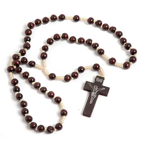 Dark wood knotted Franciscan rosary 1