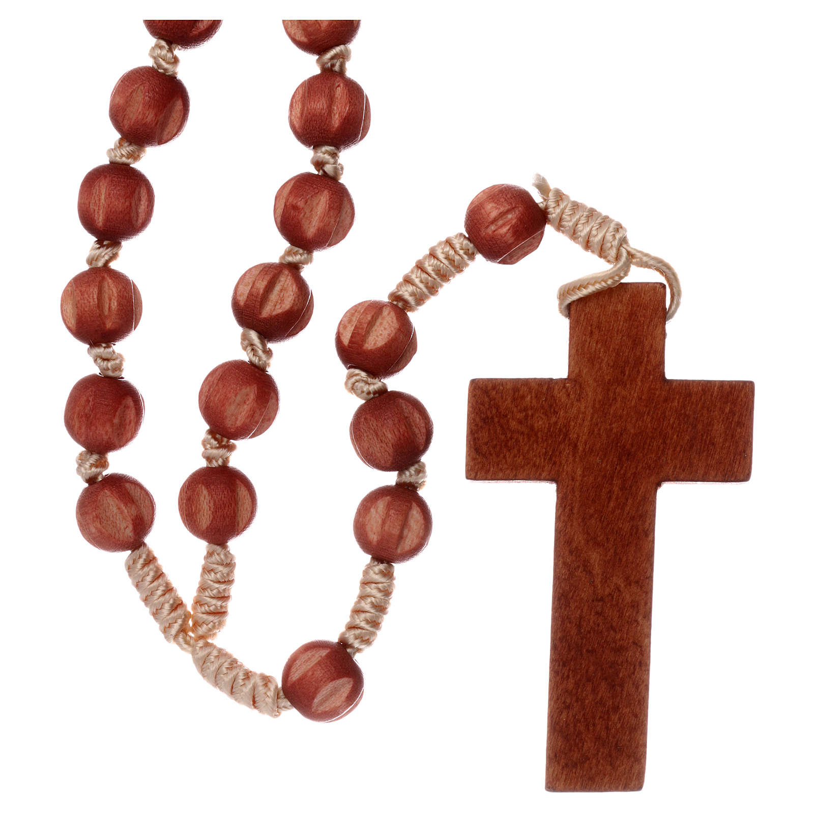 Bright carved wood Franciscan rosary 4