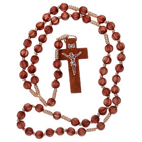Bright carved wood Franciscan rosary s4