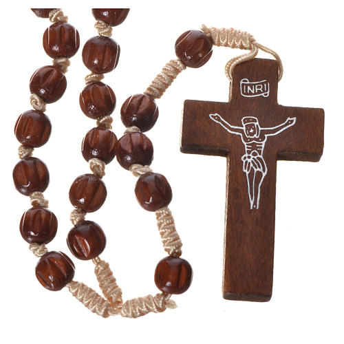 Bright carved wood Franciscan rosary 1