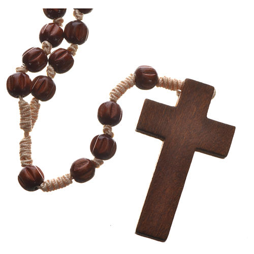 Bright carved wood Franciscan rosary 2