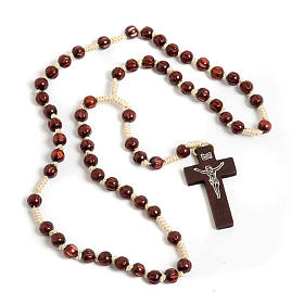 Dark carved wood Franciscan rosary s1