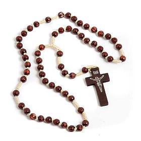 Rosarios de madera: Rosario franciscano taraceado oscuro