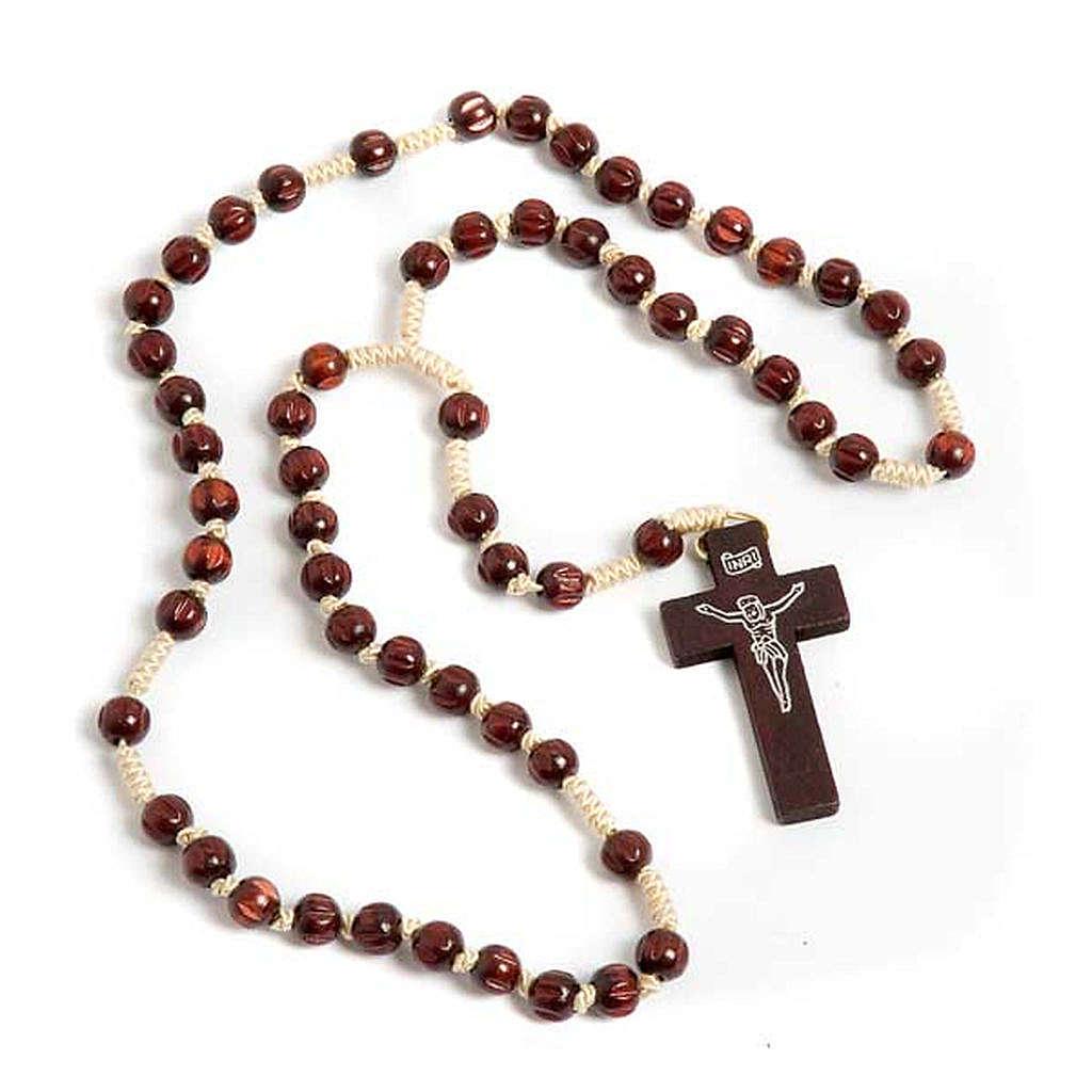 Rosario francescano intarsiato scuro 4