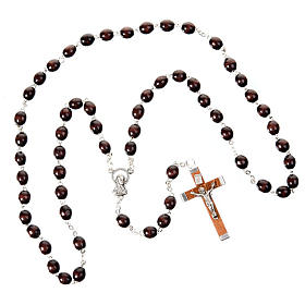 Oval 7 mm beads wood rosary s4