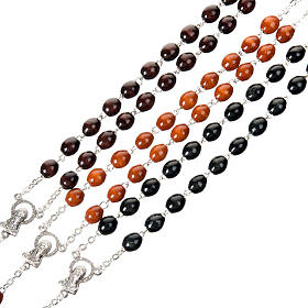 Oval 7 mm beads wood rosary s5