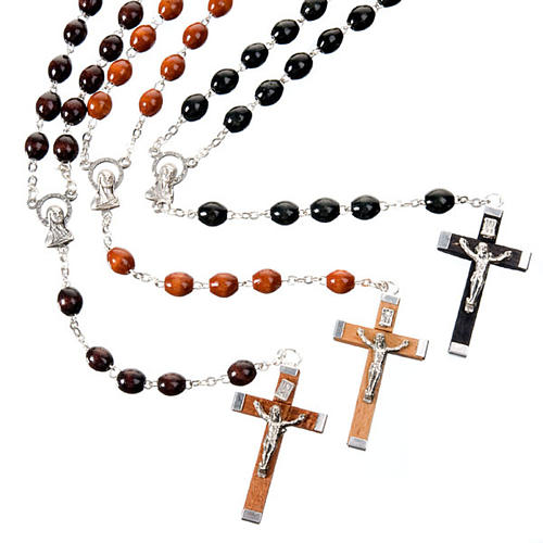 Oval 7 mm beads wood rosary 1