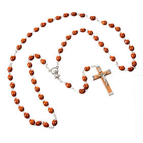 Oval 7 mm beads wood rosary s2