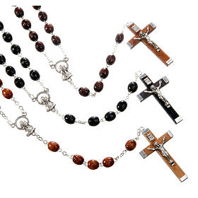 Wood rosaries: Carved oval beads rosary