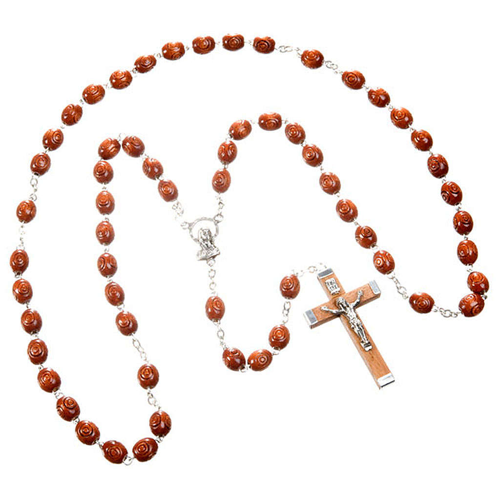 Carved oval beads rosary 4