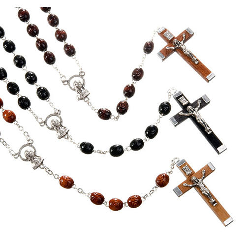 Carved oval beads rosary 1