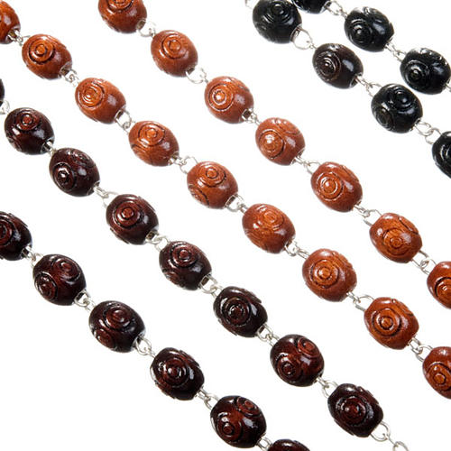Carved oval beads rosary 2