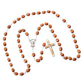 Oval beads 7mm wood rosary s2
