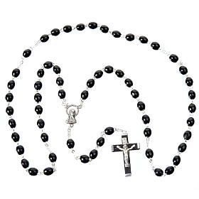 Oval beads 7mm wood rosary s4
