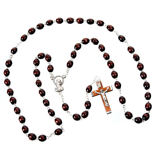 Oval beads 7mm wood rosary 3