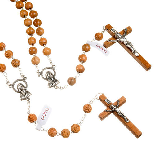 Natural olive wood rosary 1