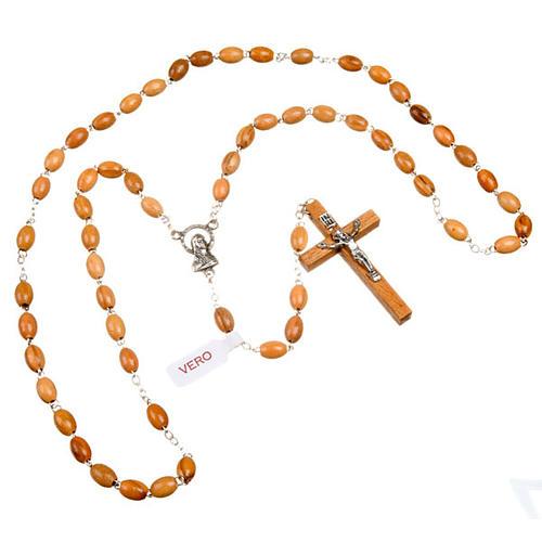 Rosenkranz Oliven-Holz, ovalen Perlen
