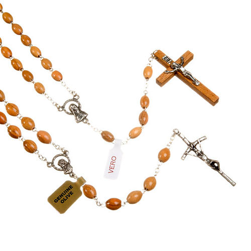 Oval beads olive wood rosary 1