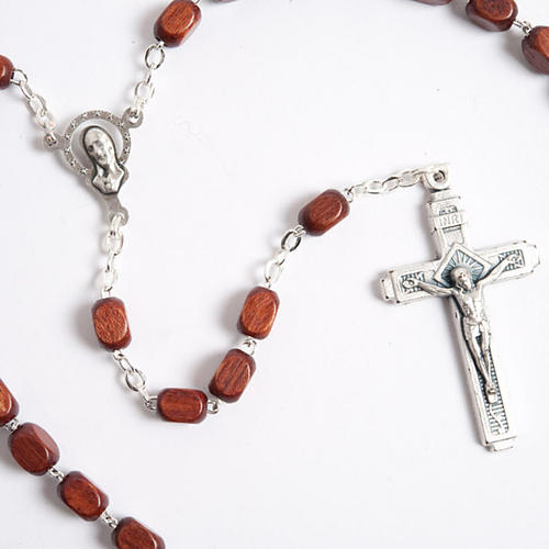 Faceted coconut-effect beads rosary 5