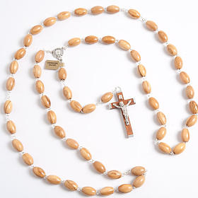 Olive wood rosary with large oval beads s1