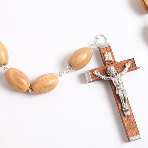 Olive wood rosary with large oval beads 2
