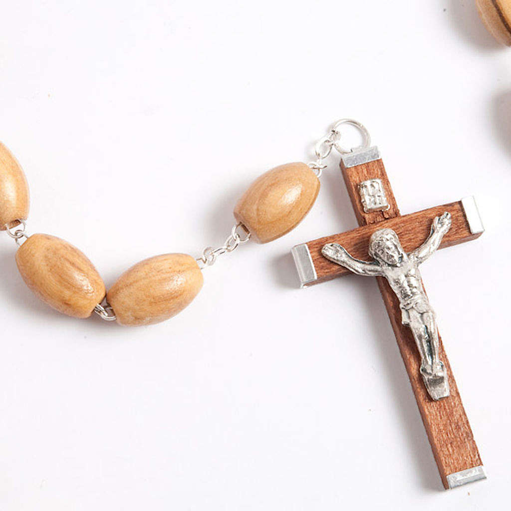Olive wood rosary with large oval beads 4
