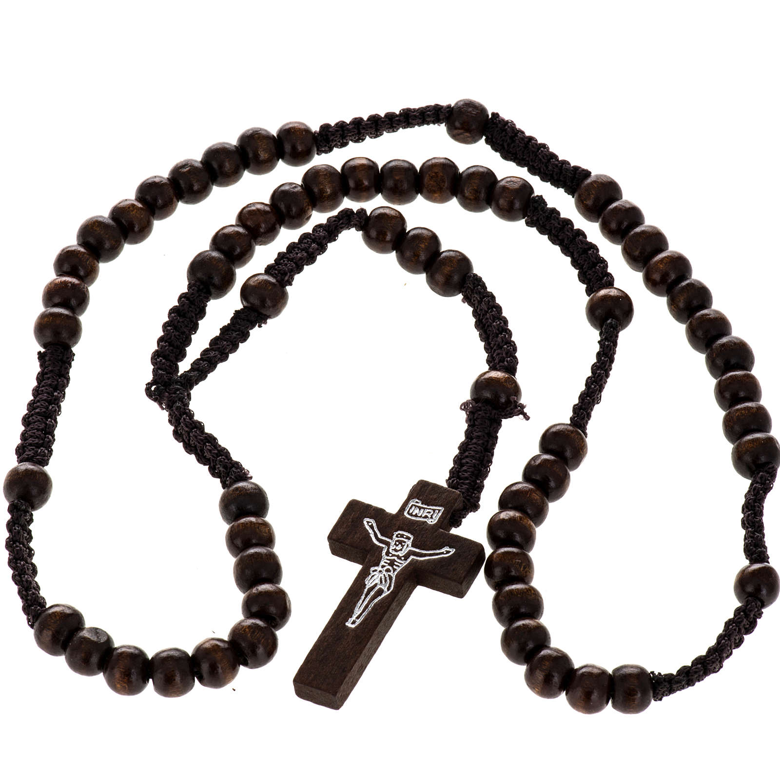 Weaved string wood rosary 4