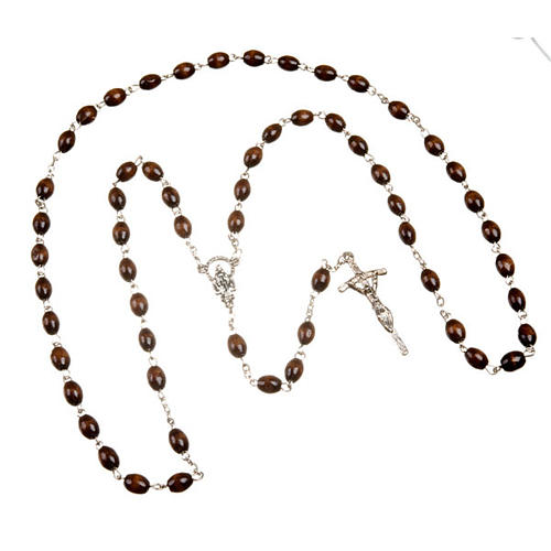 Wood rosary with oval 7mm beads 3
