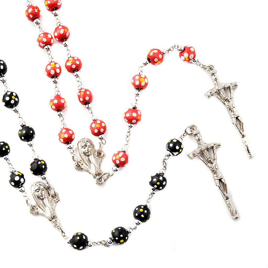 Coloured flowers wood rosary 4