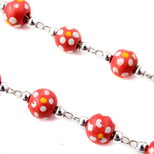 Coloured flowers wood rosary 3