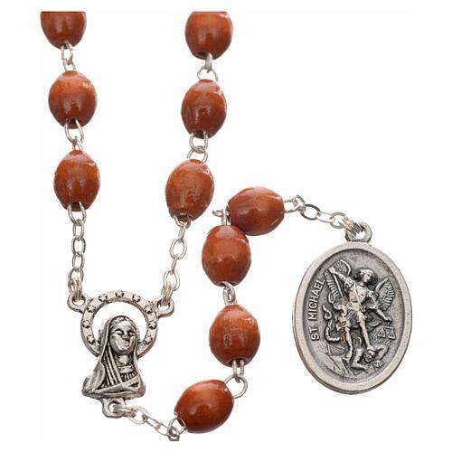 Rosario de madera redondo San Miguel Arcangel 1